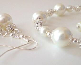 Ivory pearl bridesmaid jewelry set, pearl bracelet and earrings set, bridesmaid jewelry set, bridesmaid gift,wedding jewelry