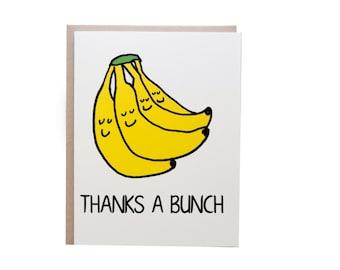 Thanks a Bunch Card, Thank You Card, Thanks, Banana card, Punny Card