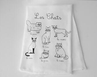 Cat Tea Towel, Flour Sack Towel, French