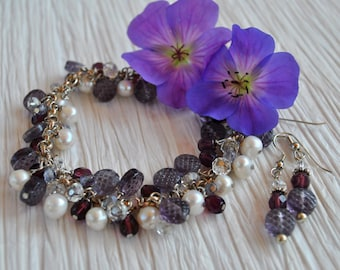 Purple Dangle Bracelet set with sterling silver, pearls, Czech glass and crystals, Lavender bracelet