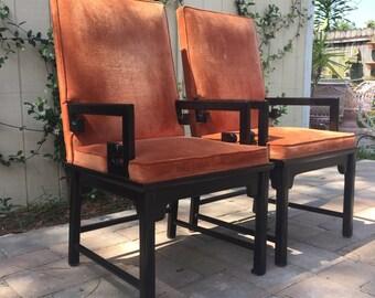 Pair of Vintage Century Furniture Greek Key Chairs, Chinoiserie Hollywood Regency