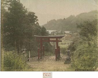 Hakone Japan gate antique hand colored tinted albumen photo
