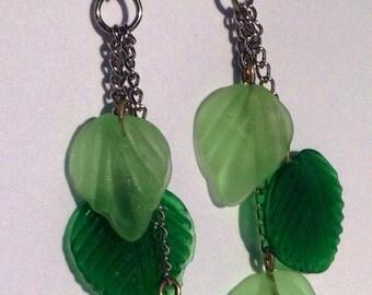 Green Leaf Teired Earrings