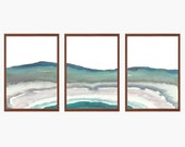 Geode Earth Layer Watercolor Landscape Triptych , Teal, Art Prints,Watercolor, Awakeyoursoul, statement wall art, large art, living room art