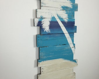 "Beach Decor Palm Tree on Sky Sea and Sand Tropical Wall Hanging 24"" x 43"""