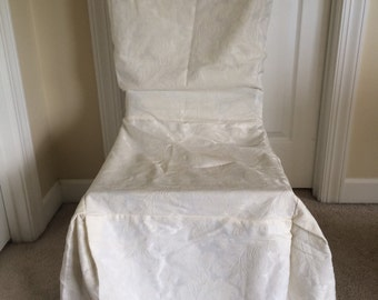 Set of 4 four chair covers damask cream ivory