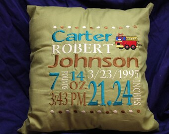 Custom Embroidery Birth Announcement Pillow or Wall Hanging Boy or Girl