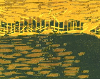 Acid Landscape, linocut reduction print, color print, yellow, ocher and dark green