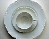 Antique Haviland Limoges White China 9 Place Settings Racine Pattern