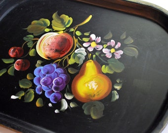 Vintage Toleware Tole Tray with Hand Painted Fruit