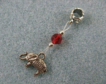 Dreadlock charm dangle with elephant and red crystal