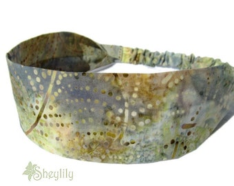 Green Gray Batik Headband for Ladies, Women, Teens, Made to Order