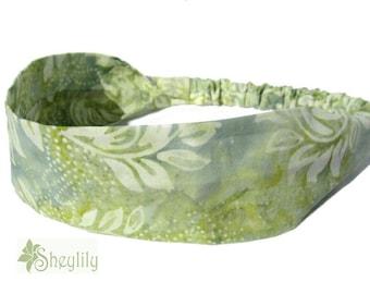 Green Batik Headband for Ladies, Women, Teens, Made to Order