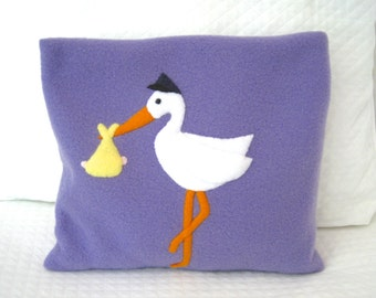 FREE SHIPPING Microwave Heating Pad Cherry Stone Filled Fleece Pillowcase with Stork Appliqué