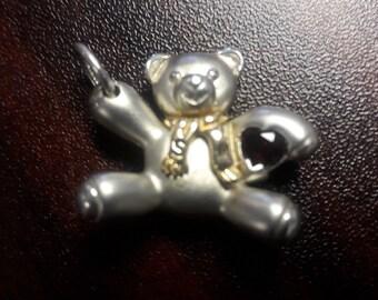 Sterling Silver 14k Keepsake Teddy Bear Garnet Pendant