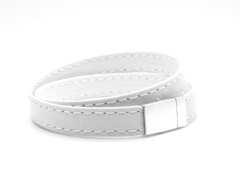 Bracelet 10mm goat leather for men. White and double stitched. 925 sterling silver Claps