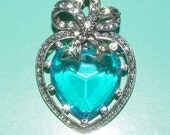 Joan Rivers Heart Pin Pendant Silver Tone with Large Aqua Blue Stone - S1362