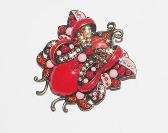 Joan Rivers Brooch - Large Red Butterfly         - S1347