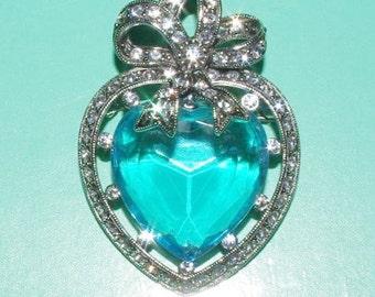 Joan Rivers Heart Pin Pendant Silver Tone with Large Aqua Blue Stone - S1362