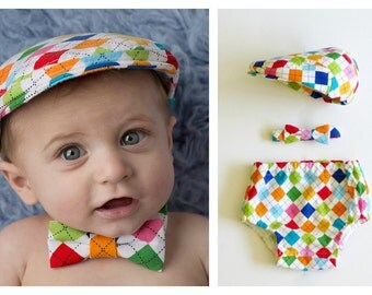 Boys cake smash outfit, First Birthday boys outfit, argyle bow tie, diaper cover and hat set, baby boy 1st Birthday outfit -  made to order