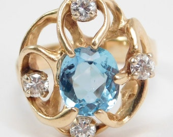 14K Modernist Freeform Blue Topaz And Diamonds Ring