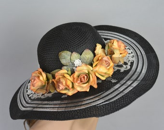Black Church Wedding Hat Vintage Style Kentucky Derby Hat Black Bridal Coctail Hat Couture Fascinator  Bridal Hat