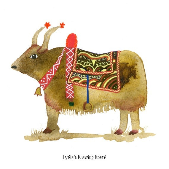 Note Cards, Notecards, Blank Cards, Birthday Card, Thank You Cards, Tibetan Art, Spirit Animal, Cards, Animal Cards, Yak, Whimsical Art