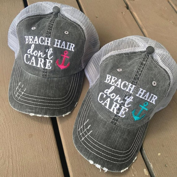Hat Beach hair don't care Shell or anchor by StacysPinkMartini