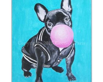 Acrylic Painting Bulldog Frenchie on canvas,Original & HandMade, Bulldog print, by painter Coco de Paris: Bulldog with Bubblegum - 1
