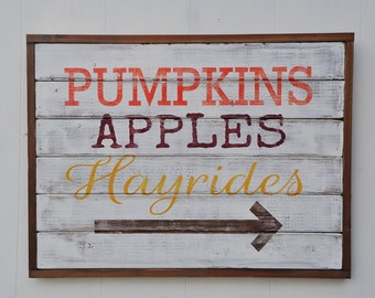 Custom Fall Decor Sign, Wood Plank Wall Art, Pumpkins, Hayrides, Fall Decorations, Thanksgiving Rustic Wood Sign, Shabby Chic Decor
