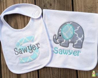 Monogrammed Baby Boy Bib & Burp Cloth Set, Personalized Baby Bib and Burp Cloth, Appliqué Bib and Burp Cloth, Baby Shower Gift Set