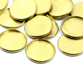 10 Pieces Raw Brass Industrial  Cabochon Settings 16 mm Bezel Round  Edge  Findings