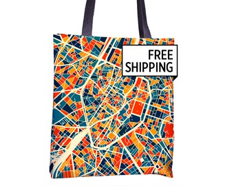 Bruxelles Map Tote Bag - Belgium Map Tote Bag 15x15