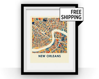 New Orleans Map Print - Full Color Map Poster