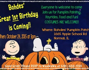 Charlie Brown and The Great Pumpkin Inspired Birthday Invitation