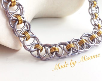 Chainmail necklace grey & gold, helmweave chain mail necklace, handmade bright anodized aluminum chainmail jewelry made by misome