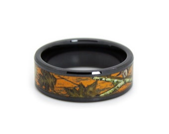 Blaze Orange Camo Wedding Rings by ONE CAMO - Hunter Orange Camo Band - Black Rings - Blaze Orange Camouflage Wedding Ring