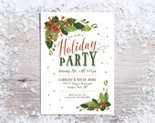 Printable Christmas Invitations,  Holiday Party Invitation, Traditional Christmas Invite, Holly & Mistletoe - white