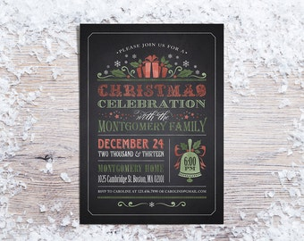 Printable Christmas Invitations,  Holiday Party Invitation, Chalboard or Rustic Christmas Invite