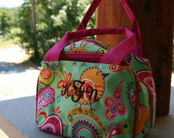 Girls Monogrammed Lunch Bag Paisley Bird Pink Trim Personalized Lunch Tote