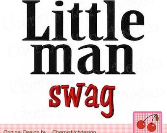 Little Man Swag, Swag embroidery ,Little Man Digital Applique BG0038 -4x4 5x5 6X6 inches-Machine Embroidery Applique Design