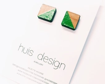 Square Hand Painted Timber Stud Earrings
