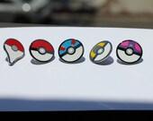 Pokeballs and Pokemon Go! Map Pin Set