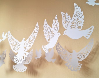 paper cut doves pigeon garland bunting decoration - set of 25