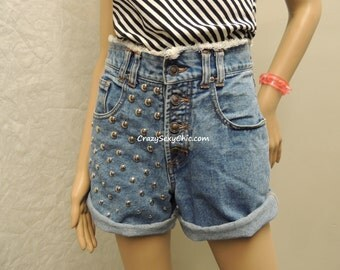 Vintage One of a Kind High Waisted Studded Shorts size 26 waist