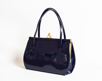 Vintage Handbag in Blue Patent Leather | Vintage Purse in Navy Blue Patent |
