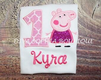 Peppa Pig Birthday T-shirt  - Personalized - Birthday