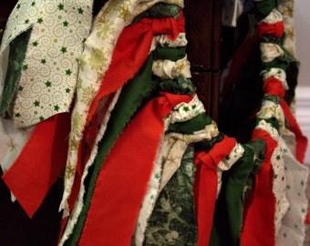 """Christmas TuTu Rag Skirt 18m-2T 18"""" waist"""
