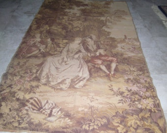 Vintage Victorian courting scene wall tapestry