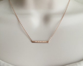 Delicate Skinny Bar Necklace. Tiny Bar Necklace. Roman Numeral Date. Monogram Bar.Sterling Silver.Gold Filled.Rose Gold.Minimalist Necklace